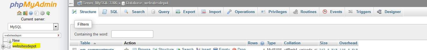 backupbuddy select database