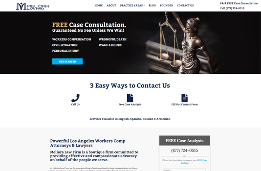 meliora law firm homepage websites depot